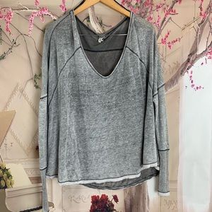 Free People V Neck Oversize Thermal Top